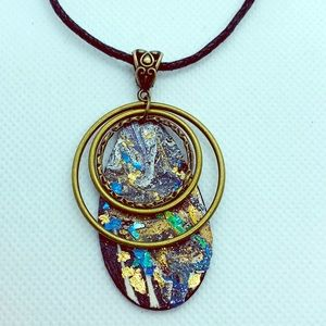 Jewelry - Hand painted wooden pendant necklace